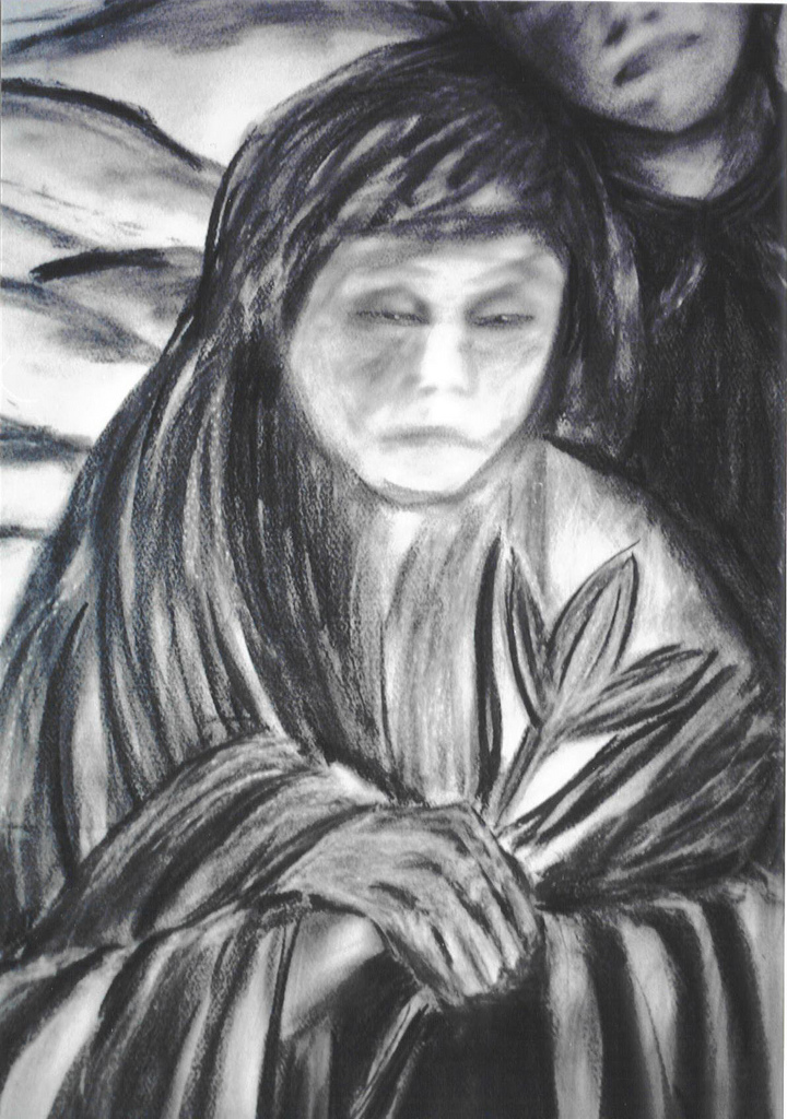 Double Annunciation by Susan Forshey, charcoal (detail of Mary)