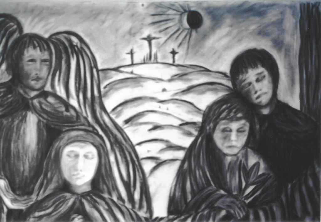 Double Annunciation by Susan Forshey, charcoal, 2001.