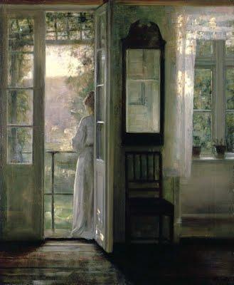 Carl Vilhelm Holsoe (Danish artist, 1863-1935) Standing on the Balcony