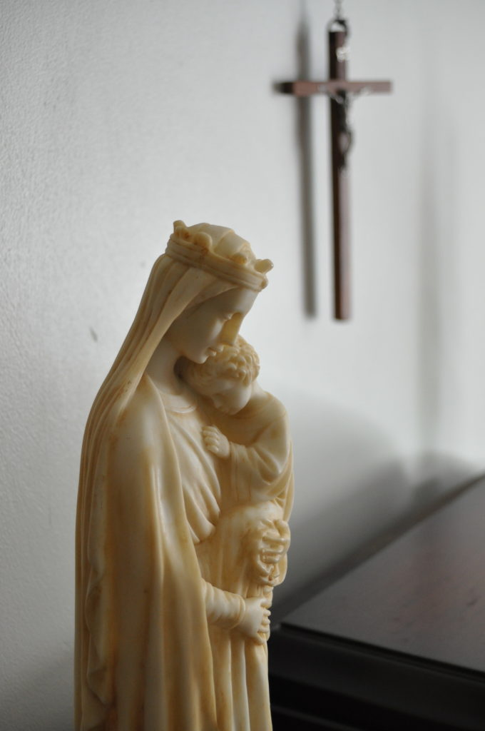 Mary with Jesus and cross
